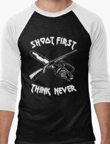 shoot first think never Men's Baseball ¾ T-Shirt