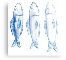 three watercolor fish Canvas Print