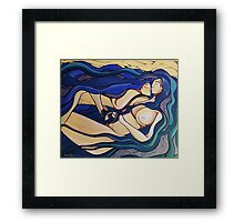 The Kiss - Love Binds in Blue  Framed Print