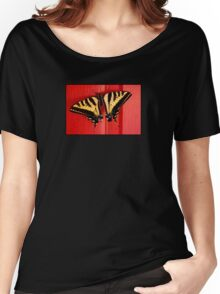 tiger swallowtail butterfly on unusual background Women's Relaxed Fit T-Shirt