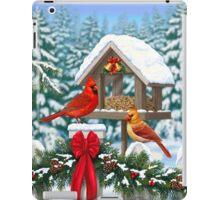 Cardinal Birds and Christmas Bird Feeder iPad Case/Skin