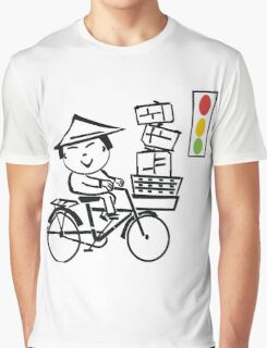 Cartoon of smiling Asian man on bicycle with parcels Graphic T-Shirt