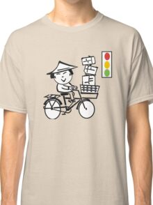 Cartoon of smiling Asian man on bicycle with parcels Classic T-Shirt