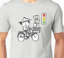 Cartoon of smiling Asian man on bicycle with parcels Unisex T-Shirt