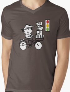 Cartoon of smiling Asian man on bicycle with parcels Mens V-Neck T-Shirt