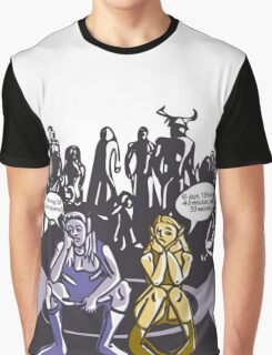 Dark Elf and Wood Elf At Camp Waiting For Boss: Everquest MMORPG funny Comic-Style Hand-Drawn Illustration  Graphic T-Shirt