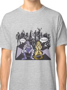 Dark Elf and Wood Elf At Camp Waiting For Boss: Everquest MMORPG funny Comic-Style Hand-Drawn Illustration  Classic T-Shirt