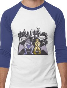 Dark Elf and Wood Elf At Camp Waiting For Boss: Everquest MMORPG funny Comic-Style Hand-Drawn Illustration  Men's Baseball ¾ T-Shirt