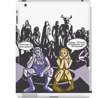 Dark Elf and Wood Elf At Camp Waiting For Boss: Everquest MMORPG funny Comic-Style Hand-Drawn Illustration  iPad Case/Skin