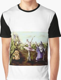 A Ballerina, Wizard, and Teddy Bear in a Children's Fairytale digital painting Graphic T-Shirt