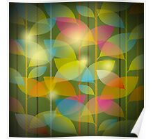 seamless pattern of colored leaves Poster