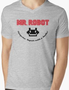 Mr. Robot logo Mens V-Neck T-Shirt