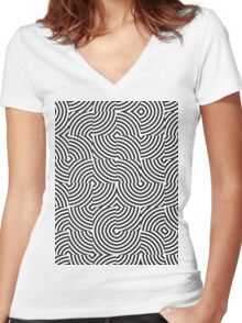 seamless patterns Black white Women's Fitted V-Neck T-Shirt