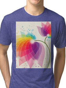 colorful abstract flower Tri-blend T-Shirt