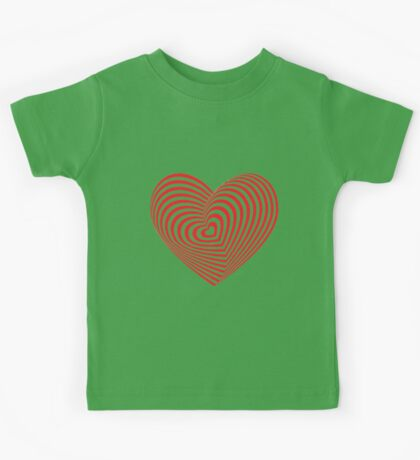 Red heart optical illusion 3d Kids Tee