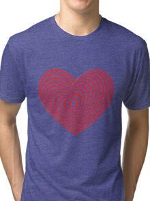 Red heart optical illusion 3d Tri-blend T-Shirt