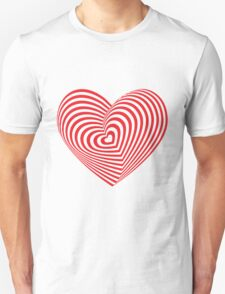 Red heart optical illusion 3d T-Shirt