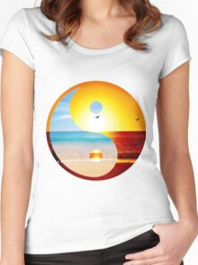 yin and yang-ocean  Women's Fitted Scoop T-Shirt