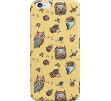 Owls on yellow background iPhone Case/Skin