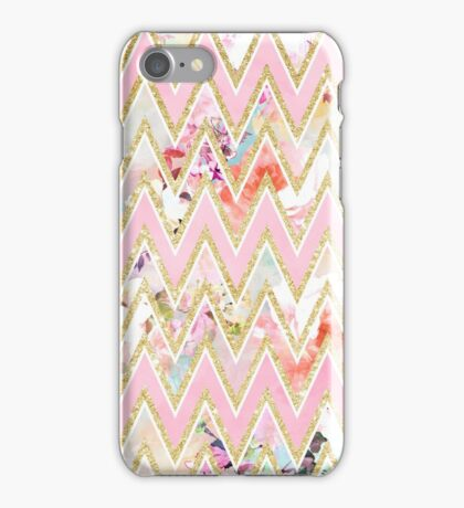 Pastel watercolor floral pink gold chevron pattern iPhone Case/Skin