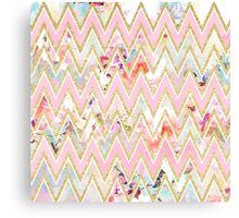 Pastel watercolor floral pink gold chevron pattern Canvas Print