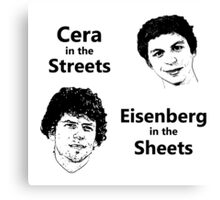 Cera in the Streets, Eisenberg in the Sheets Canvas Print
