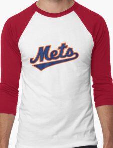 NY METS SIMPLE LOGO Men's Baseball ¾ T-Shirt