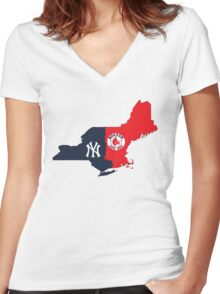 NY YANKEES X BOSTON RED SOX Women's Fitted V-Neck T-Shirt
