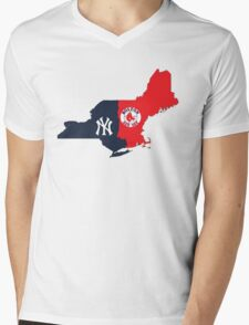 NY YANKEES X BOSTON RED SOX Mens V-Neck T-Shirt