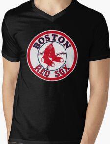 BOSTON RED SOX BASIC LOGO Mens V-Neck T-Shirt