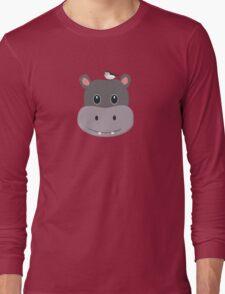 cute hippo with bird Long Sleeve T-Shirt