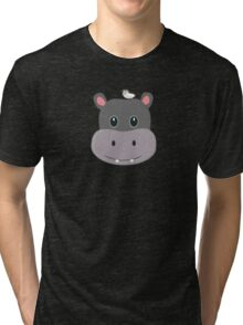 cute hippo with bird Tri-blend T-Shirt