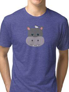 cute hippo with bird Tri-blend T-Shirt