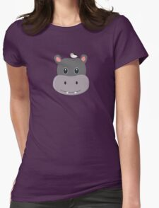 cute hippo with bird Womens Fitted T-Shirt