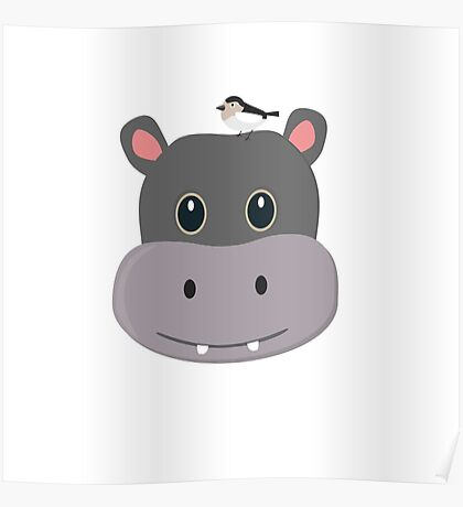 cute hippo with bird Poster