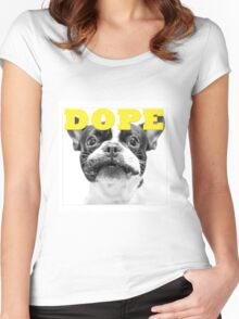 FRENCH BULLEDOG WHITE DOPE YELLOW Women's Fitted Scoop T-Shirt