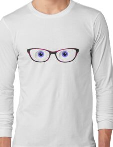 Blue Cartoon Eyes With Ladies Glasses Long Sleeve T-Shirt