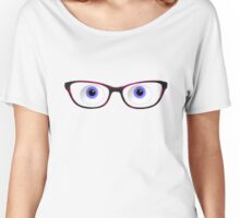 Blue Cartoon Eyes With Ladies Glasses Women's Relaxed Fit T-Shirt