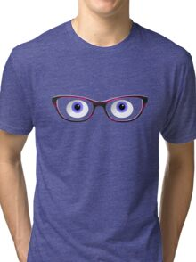 Blue Cartoon Eyes With Ladies Glasses Tri-blend T-Shirt