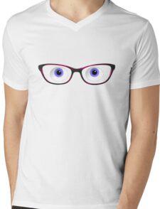Blue Cartoon Eyes With Ladies Glasses Mens V-Neck T-Shirt