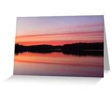 Serene view of calm lake and tree silhouettes Greeting Card