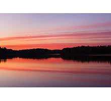 Serene view of calm lake and tree silhouettes Photographic Print