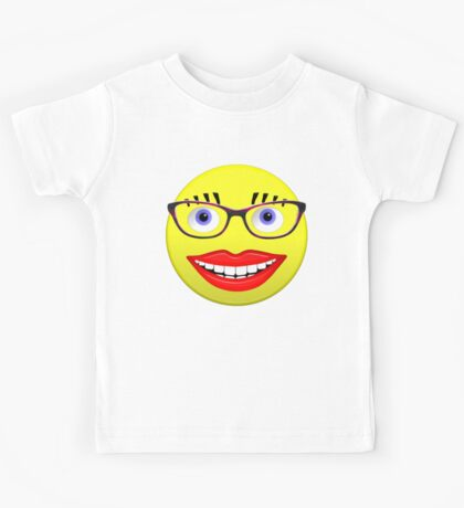 Smiley Female With Glasses and a Big Smile Kids Tee
