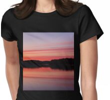 Serene view of calm lake and tree silhouettes Womens Fitted T-Shirt