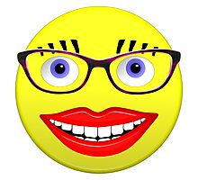 Smiley Female With Glasses and a Big Smile Photographic Print