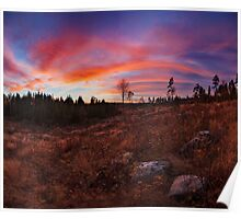 Beautiful vibrant sunset clouds landscape Poster