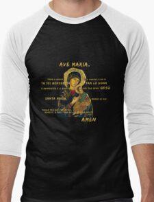 Ave Maria Virgen Mary Santa Gold Preghiera Pray Men's Baseball ¾ T-Shirt