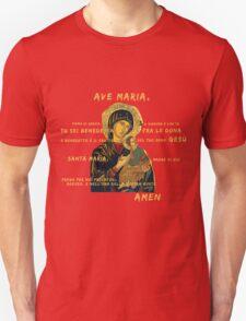 Ave Maria Virgen Mary Santa Gold Preghiera Pray Unisex T-Shirt