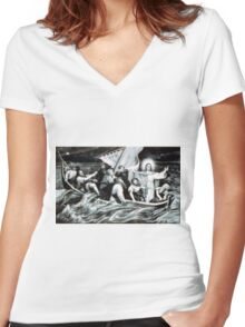 Christ stilling the tempest - 1871 - Currier & Ives Women's Fitted V-Neck T-Shirt