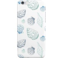 Hand drawn seashells in blue colors iPhone Case/Skin